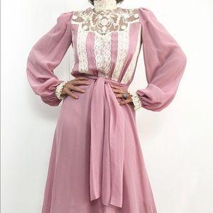 Vintage Dusty Rose Lace Semi Sheer Dress